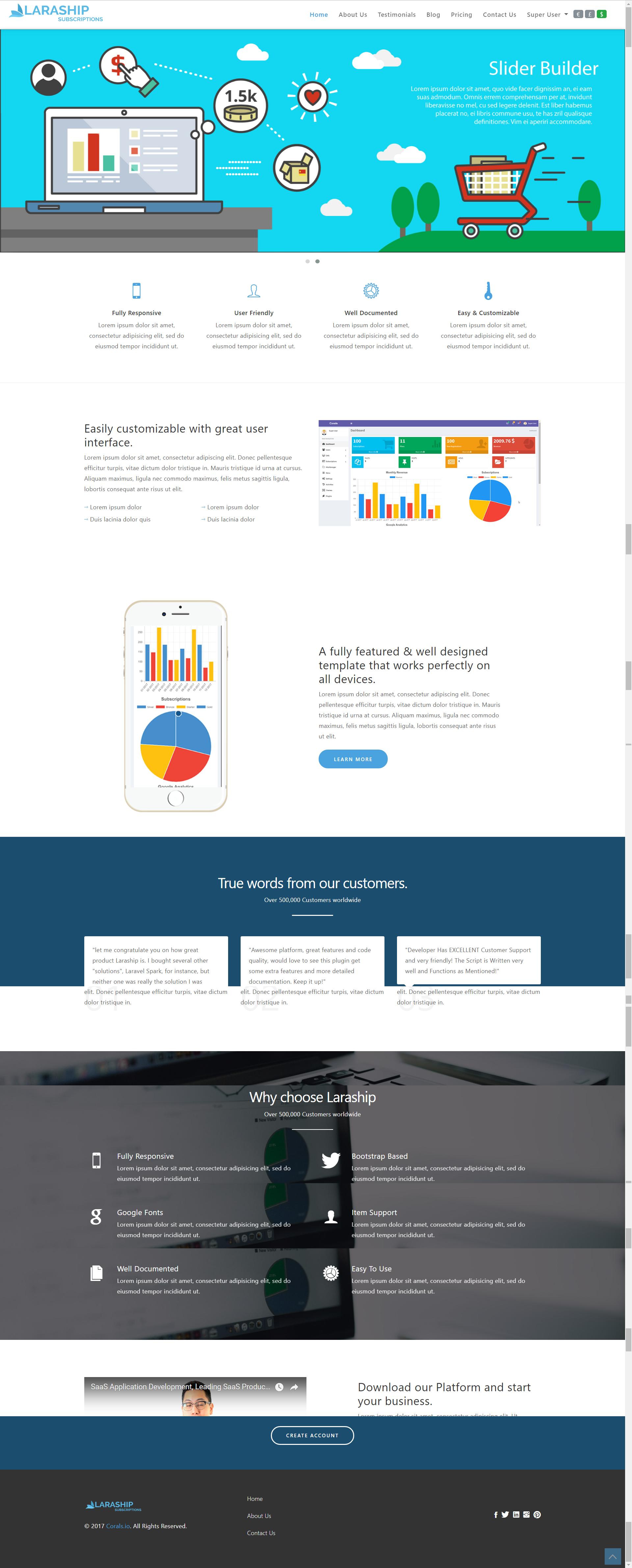 frontend theme for Laraship Recurring Billing Platform